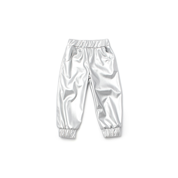 OMAMImini Silver Faux Leather Joggers