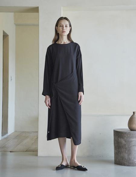 Maison De Ines Front Strap Wrap Dress - Black