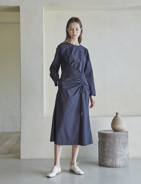 Maison De Ines WAIST SHIRRING DRESS - NAVY