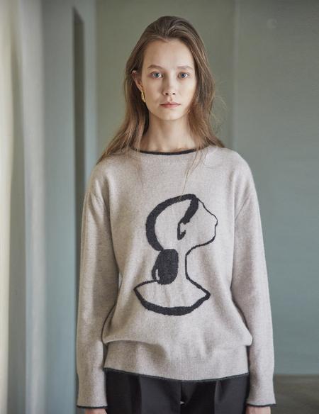 Maison De Ines Round Line Croquis Sweater - Beige