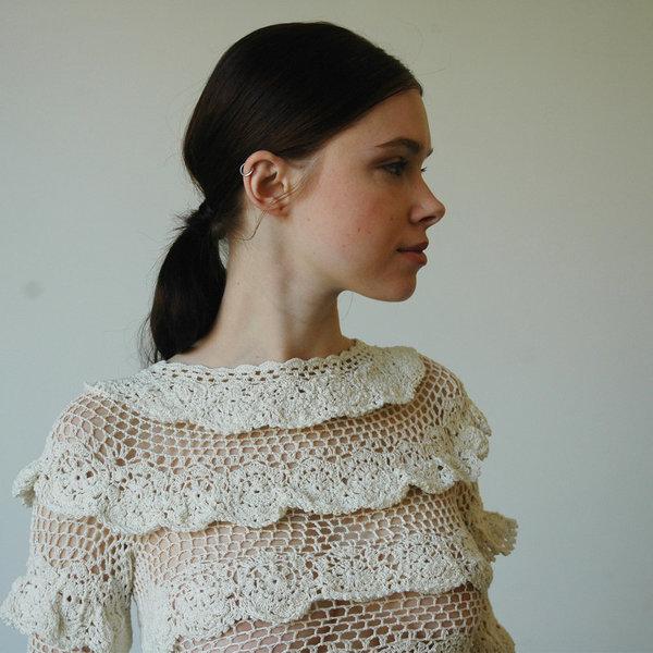 Nikki Chasin Lia Crochet Ruffle Top - Ivory