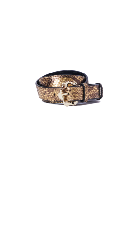 Loeffler Randall Josephine Abstract Twist Buckle Belt - Gold