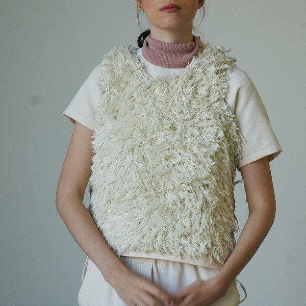Nikki Chasin Bhanu Faux Fur Embroidered Vest - Cream