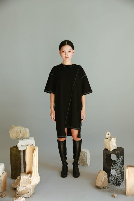 Are you Stitch Cotton Dress - Black