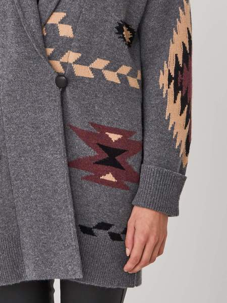 Repeat Cashmere Aztec Knit Chunky Cardigan - Grey