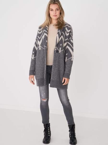 Repeat Cashmere Norweigan Intarsia Cardigan - Grey