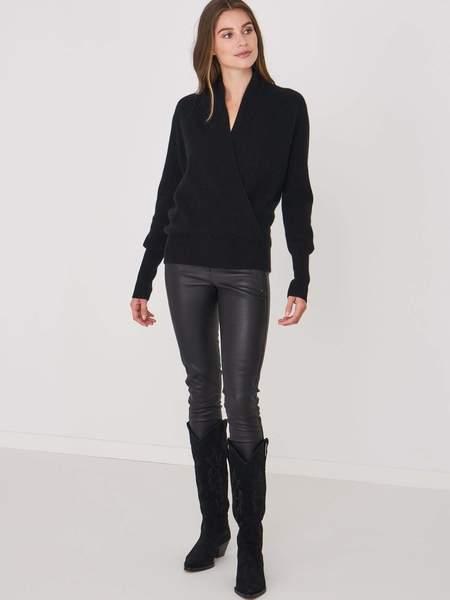 Repeat Cashmere Rib Knit Wrap Sweater - Black