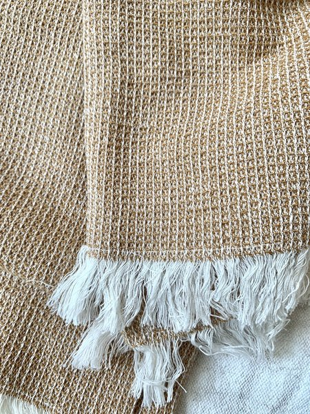 RAMBLE AND RAINE Cotton Waffle Weave Throw Blanket - Camel