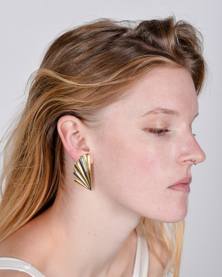 Vintage Clip-on deco earrings - bronze/gold