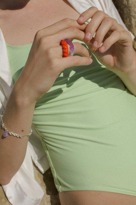 Leigh Miller Jewelry Half Twist Glass Ring - Sunshine Opal