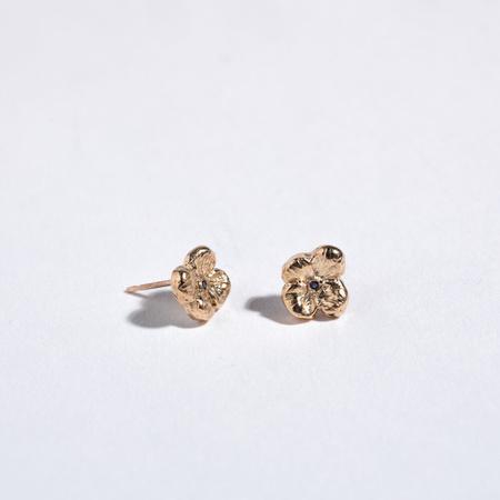 Saint Claude x Freda Petit Primrose Earrings - Brass/Sapphire
