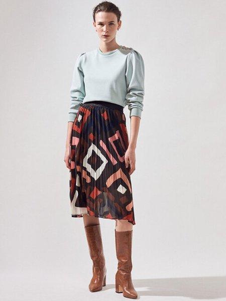 Suncoo Franka Geometric Skirt - Tobacco