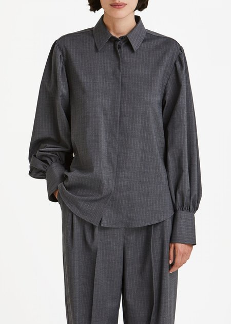 House of Dagmar Melisa Shirt - Grey Pinstripe