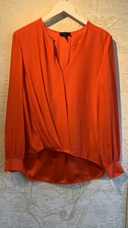 Rag & Bone Lora Silk Blouse - red