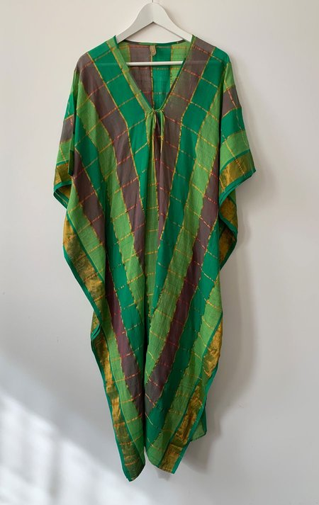 Two caftan with metallic grid - Green