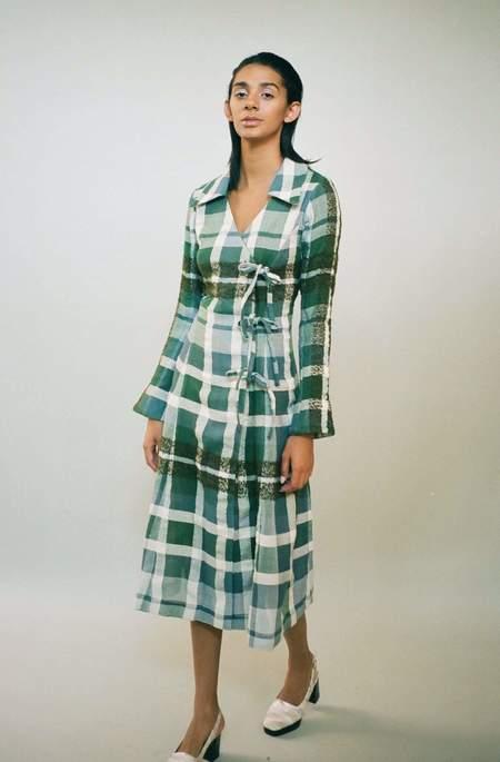 Mozh Mozh Mona Dress - Green/Blue Plaid