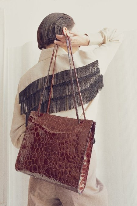 Hannah Emile Lady Bag - Oxblood Croc Leather
