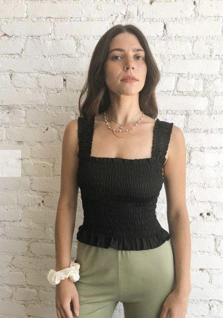 Lisa Says Gah Tammy Cotton Satin Tank - Black