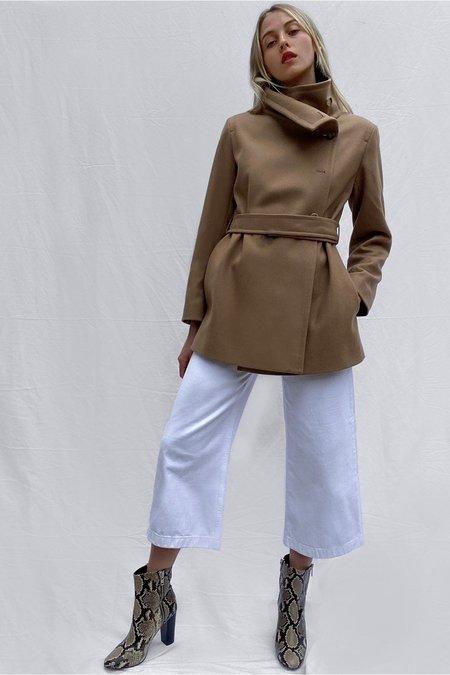French Connection Ricio Platform Wool Wrap - Camel