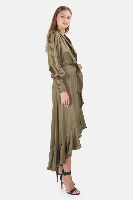 Zimmermann Silk Wrap Midi Dress - Fennel