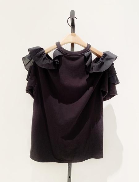SJYP ruffle cotton shirt - black