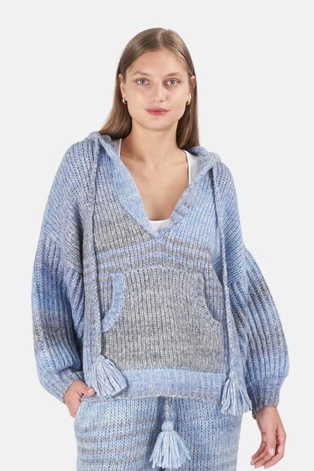 LoveShackFancy Remington Hoodie Sweater - Blue Horizon