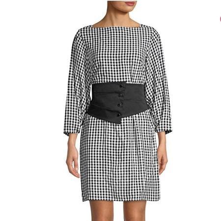 Tibi Gingham Corset Dress - Black/White Gingham