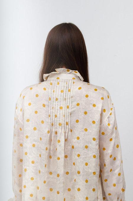 Bunon Frill Blouse - Cream/Yellow Dots