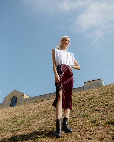 Nomia Shiny Side Zip Skirt - Burgundy