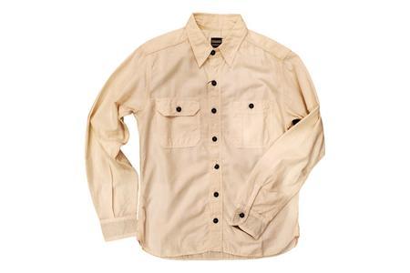 Momotaro Jeans 5oz Selvedge Chambray Work Shirt - Natural