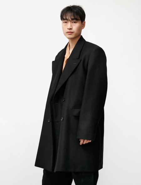 Lemaire Short Double Breasted Coat - Black