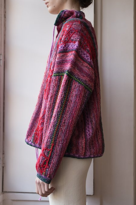 Judy Turner Channing Hand Crochet Pullover - Red/Pink