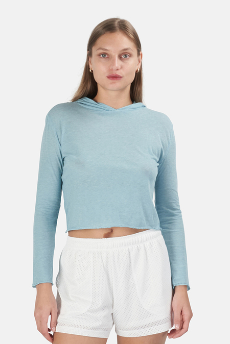 Blue&Cream Gigi 66 Cropped Hoodie Sweater - Mint