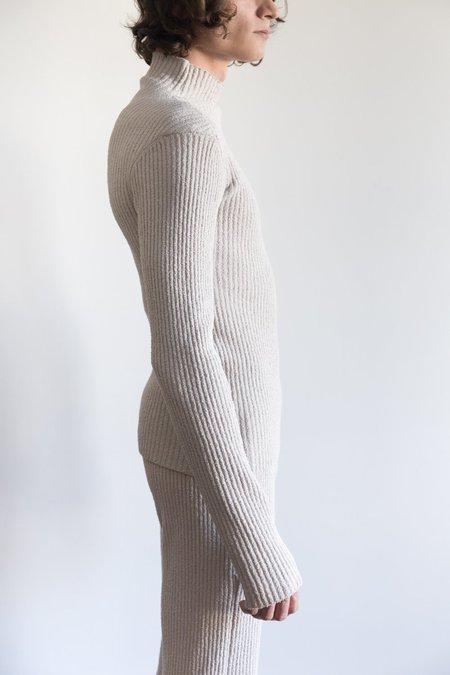 LUDOVIC DE SAINT SERNIN Merino Knit Ribbed Turtle Neck - Beige