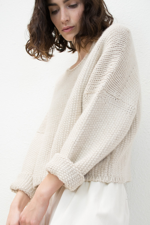 Micaela Greg Cream Woven Stitch Sweater
