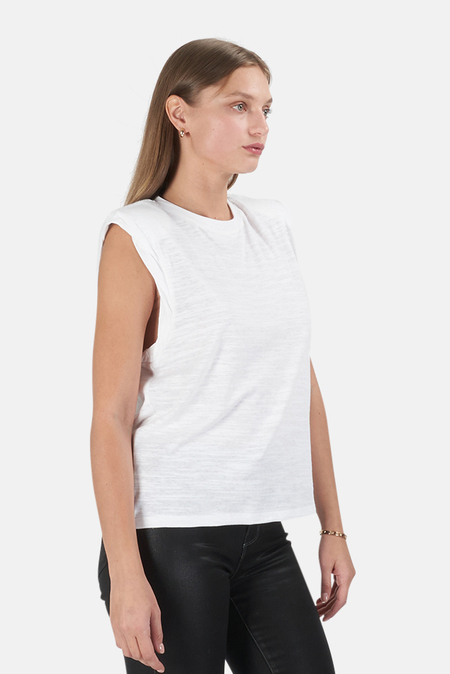 The Range Shoulder Pad Muscle Tank Top - White