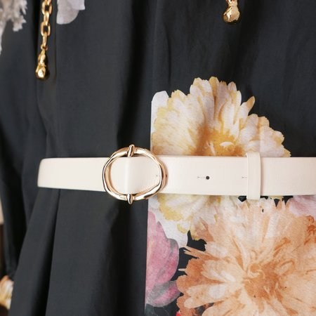Rejina Pyo Celia Belt in Shiny Leather - Cream