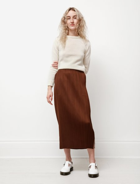 Pleats Please Womens Long Straight Skirt - Saddle Brown