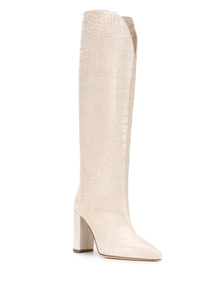 Paris Texas Pointed High Croc Boots - Beige