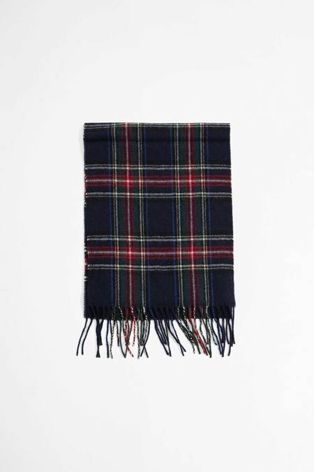 Universal Works Tartan Wool Scarf - Navy