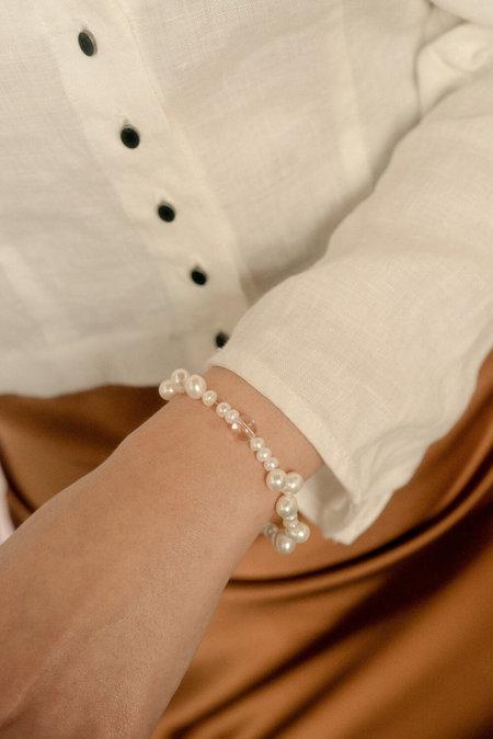 Eyde zilah bracelet - pearl/ quartz/ 14k gold fill