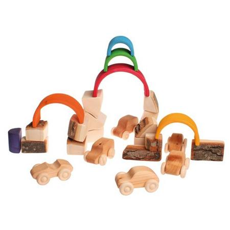 KIDS Grimm's Set Of 15 Wooden Blocks With Bark In Net Bag - Brown