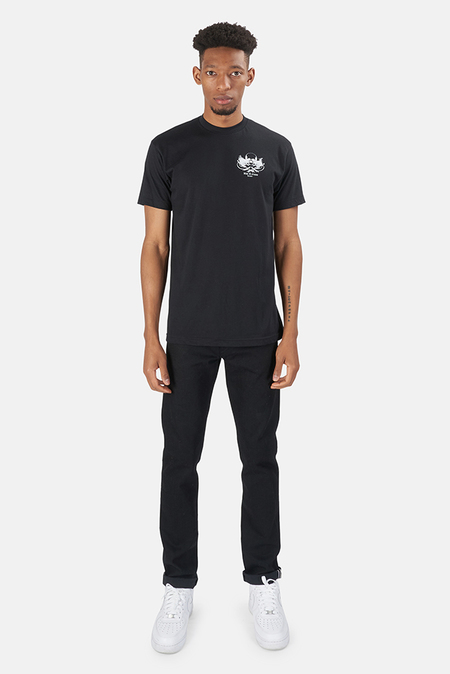 Blue&Cream Skull Crewneck Graphic Classic T-Shirt - Black/White