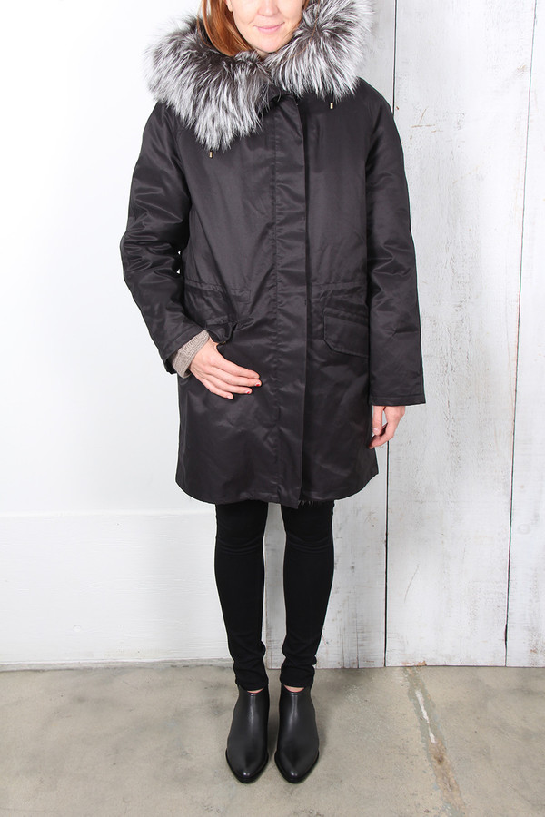 Yves Salomon GABARDINE FOX FUR PARKA