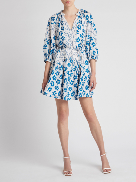 Rebecca Taylor Perla Petal Print Mix Short Dress - Snow Combo