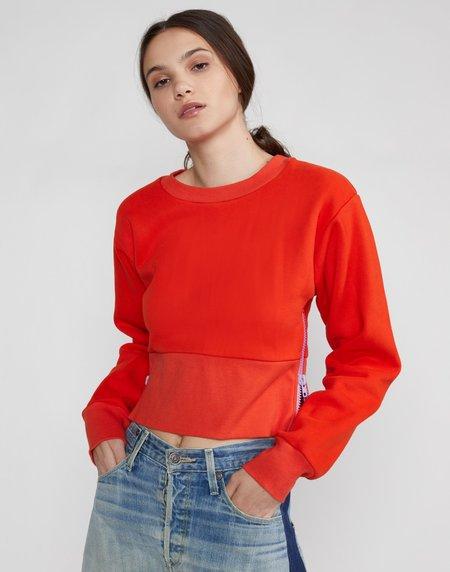 Cynthia Rowley Del Cropped Side Zip Sweatshirt