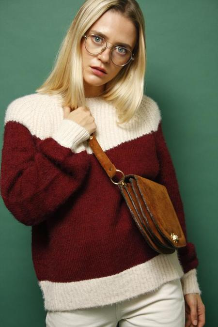 Frnch Marianne Color Block Chiunky Knit Sweater - Wine