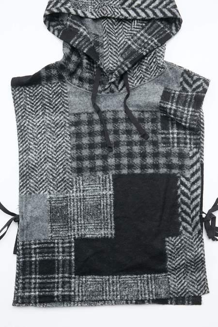 Engineered Garments Hooded Interliner in Knit Patchwork Herringbone - Black/Grey