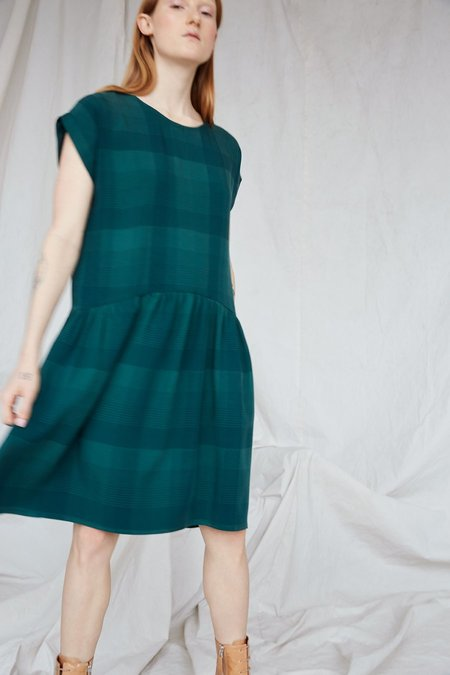 EVE GRAVEL YUMA DRESS - EMERALD PLAID