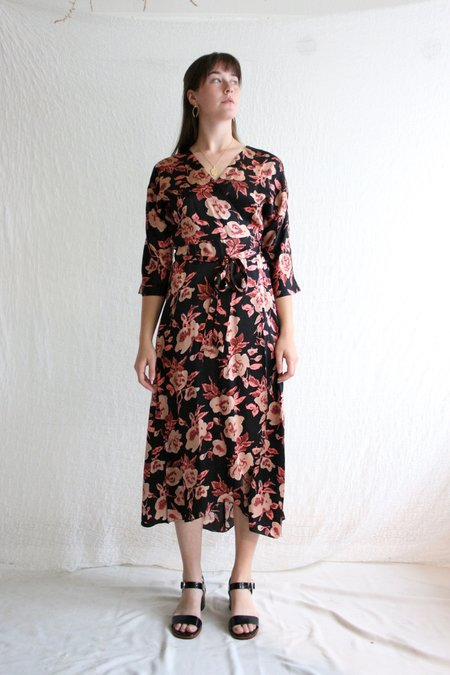 No.6 Georgia Wrap Dress - Black/Peach Ikat